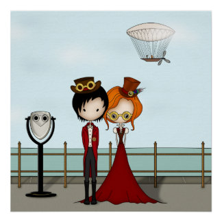 Steampunk Boy and Girl at the Seaside Posters