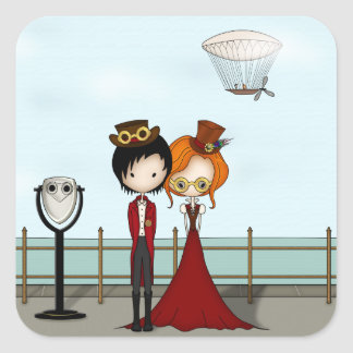 Steampunk Boy and Girl at the Seaside Stickers