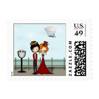 Steampunk Boy and Girl on a Seaside Promenade Stamp
