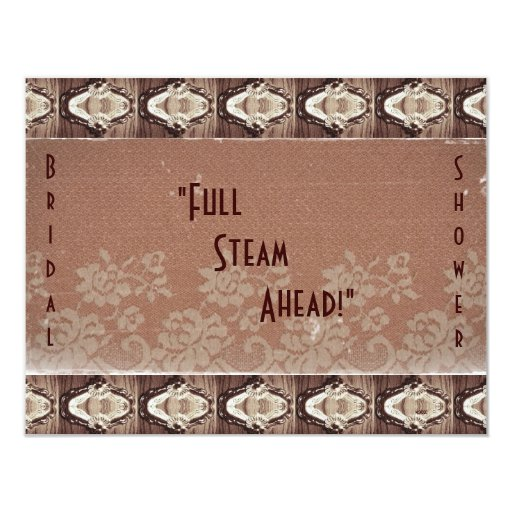 Steampunk Brass and Lace Bride's Shower 4.25x5.5 Paper Invitation Card