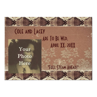 Steampunk Brass and Lace Wedding/Handfasting Card