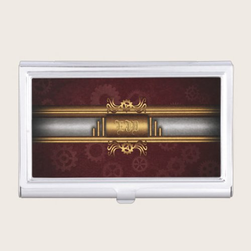 Steampunk, brass and marroon with monogram business card case