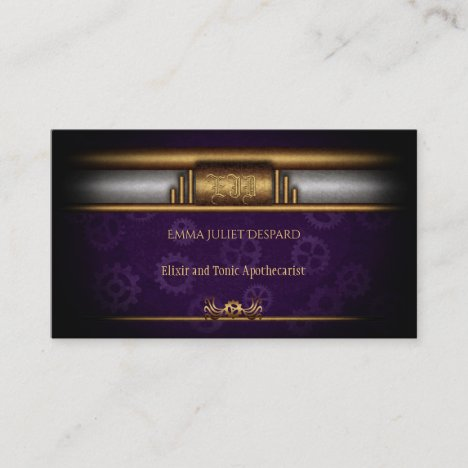 Steampunk, brass and royal purple gears, Monogram Business Card