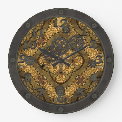 Steampunk Brass Gears II with Face Large Clock