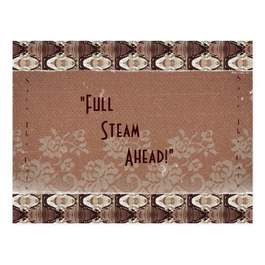 Steampunk Brass & Lace , Save The Date Postcard