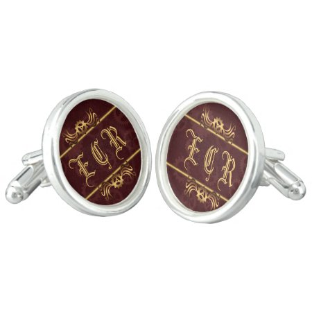 Steampunk Brass Monogram on maroon cog wheels Cufflinks