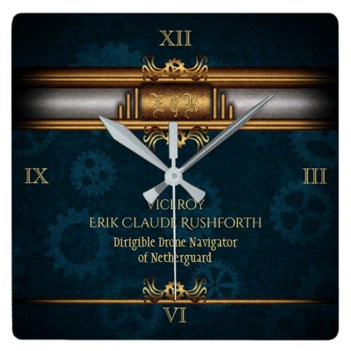Steampunk, brass on dark teal gears, Monogram Square Wall Clock