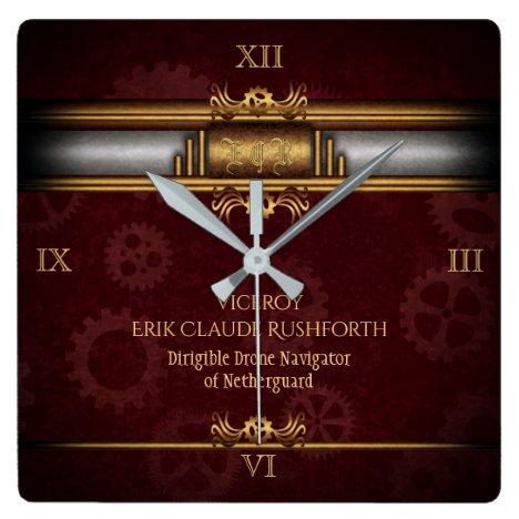 Steampunk, brass on marroon gears, Monogram Square Wall Clock