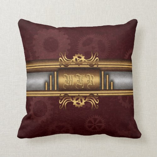 Steampunk, brass on marroon gears Monogram Throw Pillow