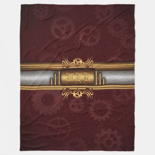 Steampunk brass, silver and marroon with monogram fleece blanket