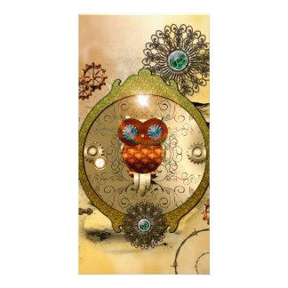 Steampunk, búho lindo tarjetas fotográficas