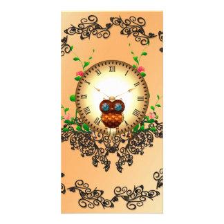 Steampunk, búho lindo tarjetas fotográficas personalizadas