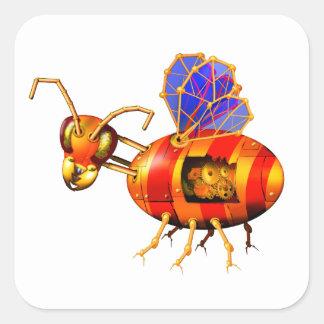 steampunk bumblebee square sticker
