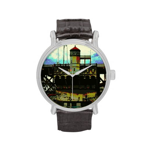 Steampunk Burnside Bridge Portland Oregon Posteriz Wrist Watches