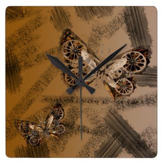 SteamPunk Butterfly Mixed Media Art style Clock