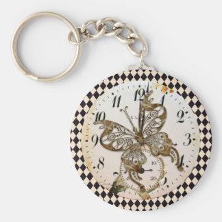 Steampunk Butterfly Round Keychain