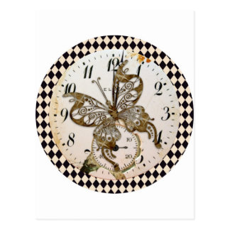Steampunk Butterfly Round Post Cards