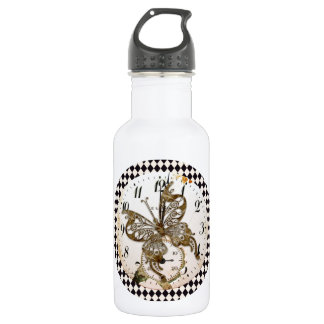 Steampunk Butterfly Round Stainless Steel Water Bottle