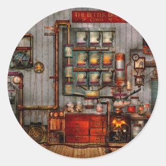 Steampunk - café - el fabricante de café de la pegatina redonda