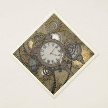 Steampunk  can you sea the funny gecko? paper napkin