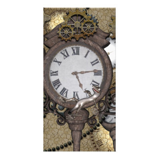 Steampunk can you sea the funny gecko photo card