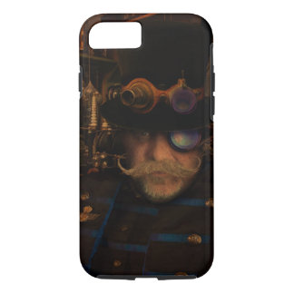 Steampunk Captain Moustache Brass Goggles Top Hat iPhone 7 Case