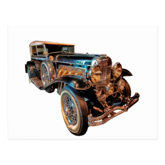 Steampunk car postcard