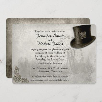 Steampunk Carnival Top Hat Wedding Invitation
