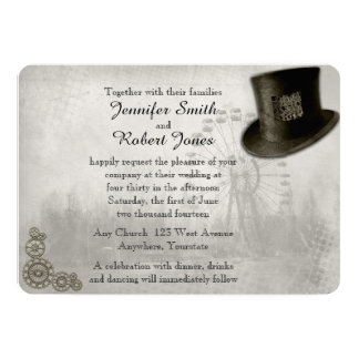 Steampunk Carnival Top Hat Wedding Invitation
