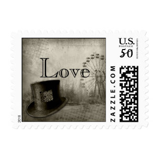 Steampunk Carnival Top Hat Wedding Postage Stamp