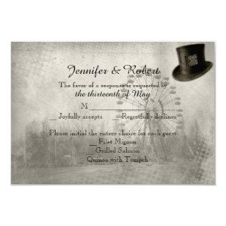 Steampunk Carnival Top Hat Wedding Response Card