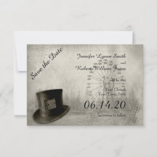 Steampunk Carnival Top Hat Wedding Save the Date