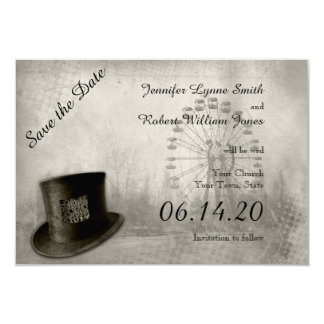 Steampunk Carnival Top Hat Wedding Save the Date 3.5x5 Paper Invitation Card