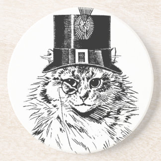 Steampunk Cat Coaster, Kitty in Top Hat Sandstone Coaster