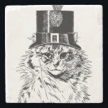 """Steampunk Cat Coaster, Kitty in Top Hat Stone Coaster<br><div class=""""desc"""">How adorable is this? Show your love of steampunk and kitties!</div>"""