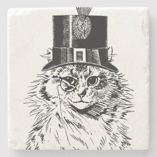 Steampunk Cat Coaster, Kitty in Top Hat Stone Coaster