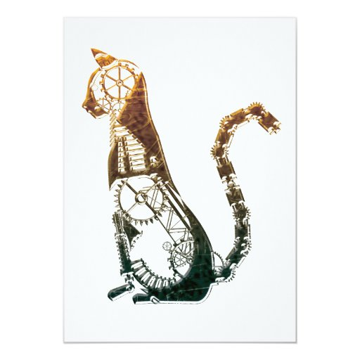 Steampunk cat invitation 13 cm x 18 cm invitation card