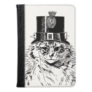 Steampunk Cat Kitty In A Top Hat Kindle Case at Zazzle