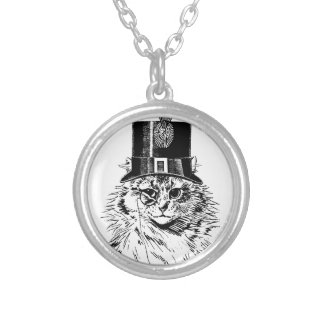 Steampunk Cat Kitty in a Top Hat Round Pendant Necklace