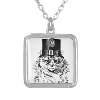 Steampunk Cat Kitty in a Top Hat Square Pendant Necklace