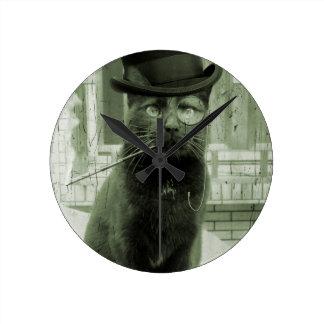 Steampunk Cat LOL Funny Round Clock