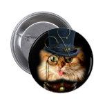 Steampunk Cat pin back button