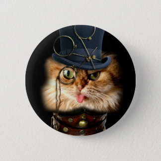 Steampunk Cat Pint Back Button