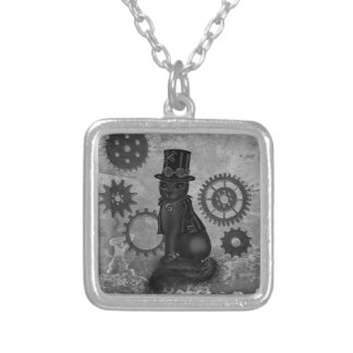 Steampunk Cat Silver Plated Necklace