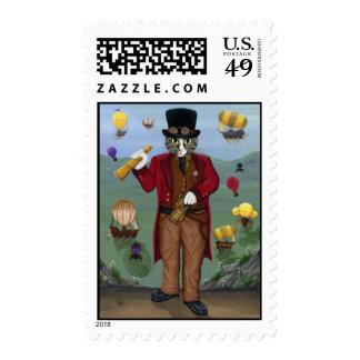 Steampunk Cat Victorian Portrait Gothic Fantasy Ar Postage Stamps