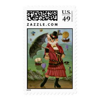 Steampunk Cat Victorian Portrait Gothic Fantasy Ar Postage Stamp