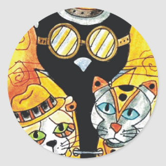 Steampunk Cats.jpg Classic Round Sticker