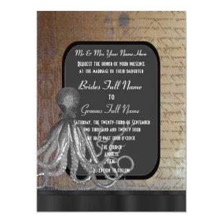 Steampunk chalkboard vintage style wedding card