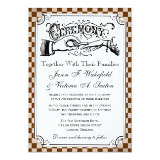 Steampunk Checkerboard Wedding Invitations