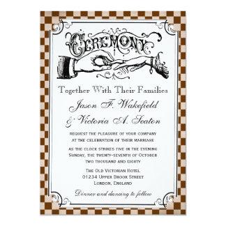 """Steampunk Checkerboard Wedding Invitations 5"""" X 7"""" Invitation Card"""